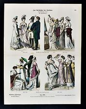 1880 Braun Costume Print German French Empire Style Dress Napoleon Era Fashion