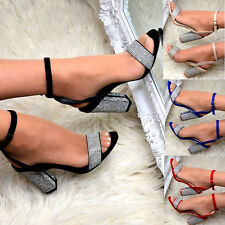 9810655c174 Women Diamante Block High Heels Strappy Sandals Fashion Open Toe Sexy Shoes  size