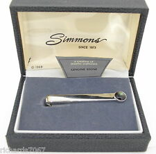 Tie Bar Simmons silver color with black stone engraveable