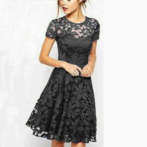 Women Lace Mini Dress Ladies Plus Size Summer Evening Party Cocktail Size 8 -22