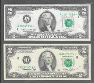 1976 A + H STAR - ( 2 ) $2 CU  Replacement Notes