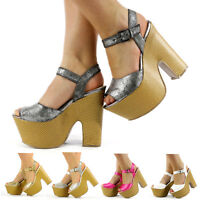NEW LADIES HIGH HEELS WOMENS PLATFORM SHOES PARTY PROM FUNKY WEDGES SIZE 3 TO 8