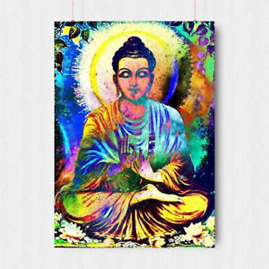 BUDDHA TRIPPY PSYCHEDELIC POSTER RELIGION ART PRINT SIZE A3 A4