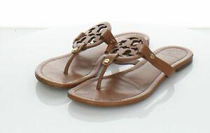 08-07 $198 Women's Sz 7 M Tory Burch Miller Leather Medallion Thong Sandals