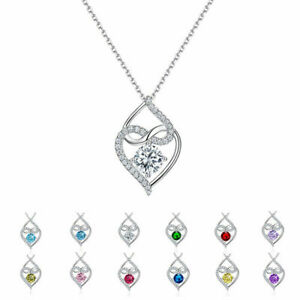 Birth Stones Pendant Necklace Multi colors 925 Sterling Silver AAAA Cz 12 Months