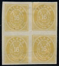 ICELAND #4a (4v2), 16sk IMPERF Block of 4, no gum as issued, repaired tear