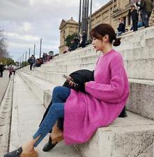 Vestido Para Mujer Calce Suelto Manga Larga De Punto Bat Grueso Cálido Suéter Casual Moda