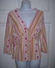 Juniors Size Large Pajamas Lounge Top Pink Comfortable Ruffle Trim V-Neck New