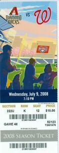 2008 Nationals vs Diamondbacks Ticket: John Lannan Win