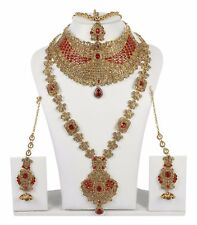 11129 Indian Bollywood Fashion Jewelry Gold Plated Wedding Necklace Earrings Set