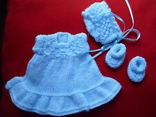 "Doll Clothes Hand-knit Vintage Style Blue Dress Fits Bisque/Rubber 8"" Heidi Ott"