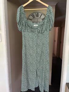 DISSH WOMENS SEXY GREEN WHITE LONG DRESS Size 14 Xmas Flower Pattern