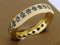 R261 Genuine 9ct Yellow Gold Natural Sapphire Full Eternity Ring Wedding size M