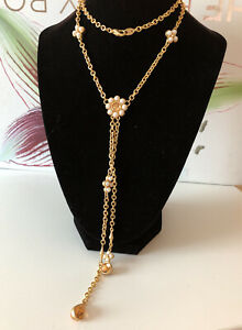 Vintage Avon SO necklace Mate gold tone Cabochon Stone flower Pearl necklace