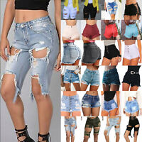 Women High Waisted Jeans Shorts Ripped Destroyed Hole Denim Pant Hot Pant Summer