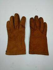 Vintage Stitched Leather Ladies Gloves size Large Brown distressed Antique look