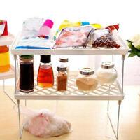 1Tier Foldable Shelf Kitchen Cabinet Storage Stackable Cupboard Rack Organizer