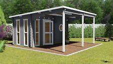 Saunahaus, Garten-Sauna, Außensauna 4.8x2.4M+2.6M 45mm Mannheim EB45009F28ISOL
