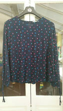Tu Ladies Long Sleeved Navy Top with Multicoloured Spot Print Size 14 BNWOT