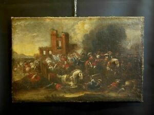 BATTAGLIA OLIO SU TELA FINE XVII Sec. attr. Matheus Stomer (1649-1702) DIPINTO