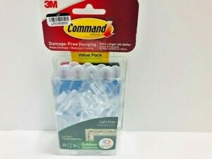 Command Outdoor Light Clips with Foam Strips Clear 32 Clips, 36 Strips