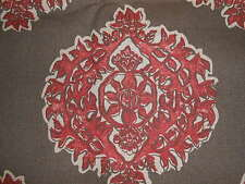 """ONE remnant printed medallions fabric red white on cocoa brown cotton 124"""" X 54"""""""