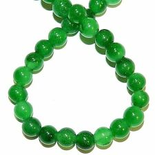 "GR772f Candy Green Malay Jade 8mm Round Quart Gemstone Beads 15"""
