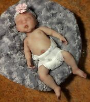 "Painted Micro Preemie Full Body Silicone Baby Girl Doll ""Angelica"""