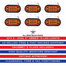 "(6) AMBER 6"" Oval LED 10 Turn Signal Tail Light w/Grommet & Plug Truck Trailer"