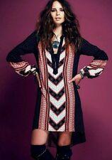 Free People black red PEACEMAKER tribal tunic asymmetrical hi-lo dress XS boho