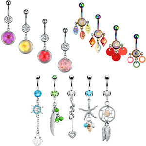BodyJ4You Belly Button Rings Flower Seashell Nautical Banana Bar 14G Piercing