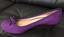 TORY BURCH CHELSEA 45MM WEDGE SOHO LUX SUEDE PLUM PURPLE SIZE 6.5 SOLDOUT