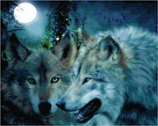 Cross Stitch Chart Native American Wolf Pair Aida Needlework Picture Craft