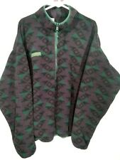 Columbia Fleece 1/2 Zip Pullover Aztec Print Mens Large Made In USA Vintage