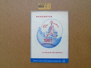 Vintage 1961 Washington The Senators Baseball Team Program book & Ticket Stub