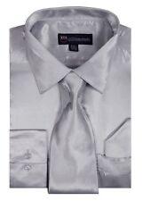 Men's Fashion Shiny Satin Dress Shirt With Tie And Handkerchief 10 colors 15~20