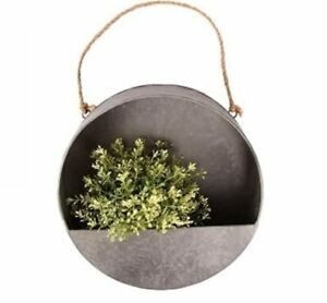Round Hanging Wall Planter, Wall Mounted, Zinc Planter with Jute Rope, Garden