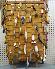 New listing 60 Fishing Lures and Tall Basket – Vintage, Beautiful - Pick Up Only