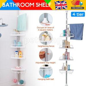 4 Tier Shower Corner Rack Shelf Telescopic Bathroom Kitchen Storage Organiser