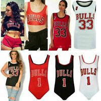 Womens Ladies Celebrity Inspired Bull 1 Baseball Vest Top Bodysuit Crop Top 8-14