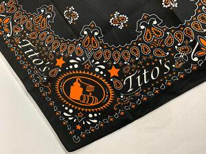 Titos Vodka Black Orange Paisley Bandana Scarf Handkerchief NIP Novelty Guy Gift