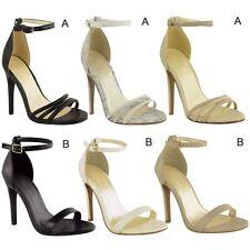 Para Mujer Damas Tacones de aguja en el Tobillo con tiras de puño puntera abierta Sandalias Talla Zapato