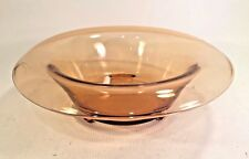 """AMBER DEPRESSION GLASS ROLLED RIM CONSOLE BOWL 11 in diameter 2 1/2"""" tall."""