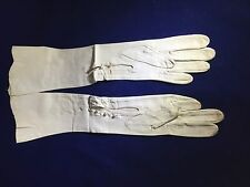 Vintage White Kid Leather Opera Gloves Women's with faux Pearl Buttons Small S