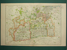 1920 COUNTY MAP of SURREY ~ GUILDFORD REIGATE EPSOM RAILWAYS VILLAGES PARKS etc