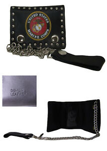 Marines Marine Insignia Black Genuine Leather Wallet With Chain (4 inch)