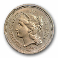 1876 3CN Three Cent Nickel PCGS AU 58 About Uncirculated Registry Set Cert#5650