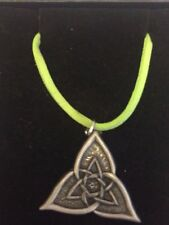 "CELTIC TRIANGLE DR55 Made From Fine English Pewter On a 18"" Green Cord Necklace"