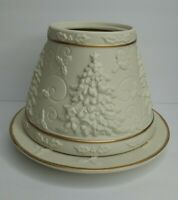 Yankee Candle Ivory 3D Christmas Tree Shade and Plate Gold Trim Neutral EUC