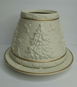 Yankee Candle 3D Christmas Tree Shade & Plate Ivory Gold Trim Neutral Jasmine